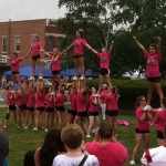 cheerleaders perform